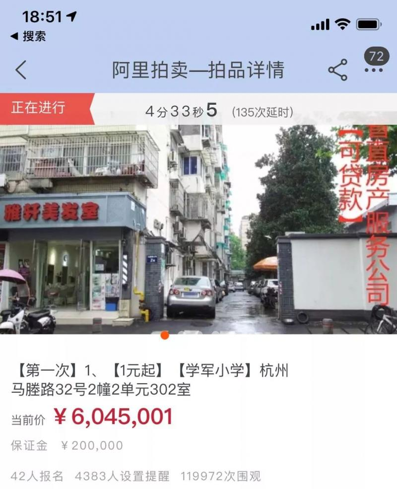 11万人次围观,230次出价!这套1元起拍的杭州学区房,火了!图1
