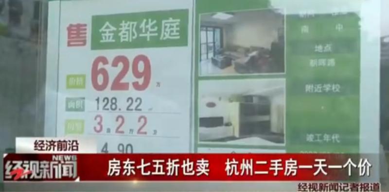 杭州二手房打七五折, 一天一个价房东急了!