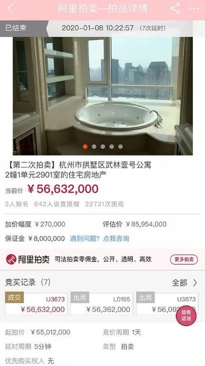 备受关注的杭州武林壹号跃层豪宅二拍以5663.2万元成交!