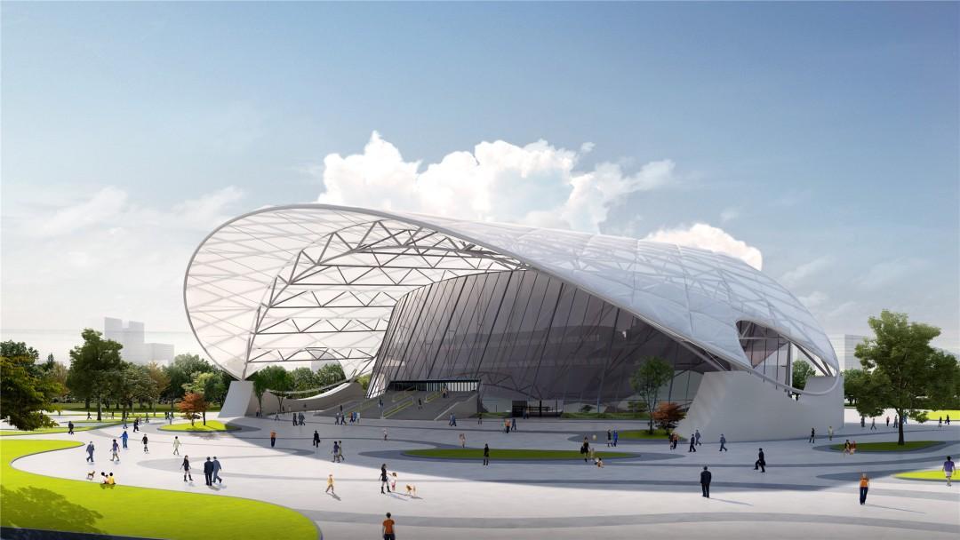 大运河亚运公园最新进展:体育馆屋面钢网合拢!